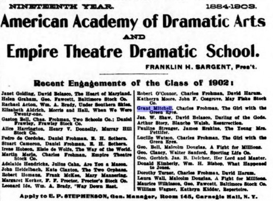 Grant Mitchell American Academy of Dramatic Arts