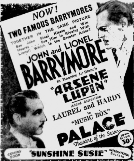 Arsene Lupin 1932 newspaper ad