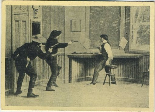 The Great Train Robbery scene on 1940 tobacco card