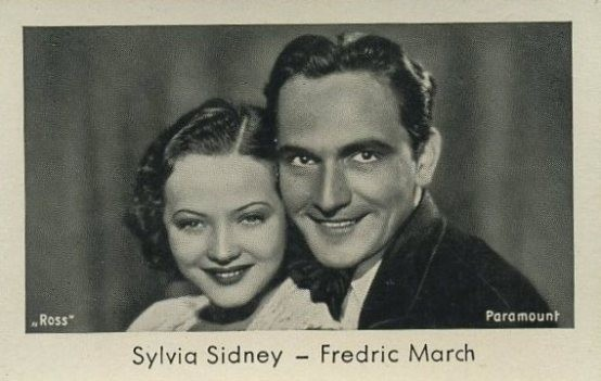 Sylvia Sidney and Fredric March Josetti brand tobacco card