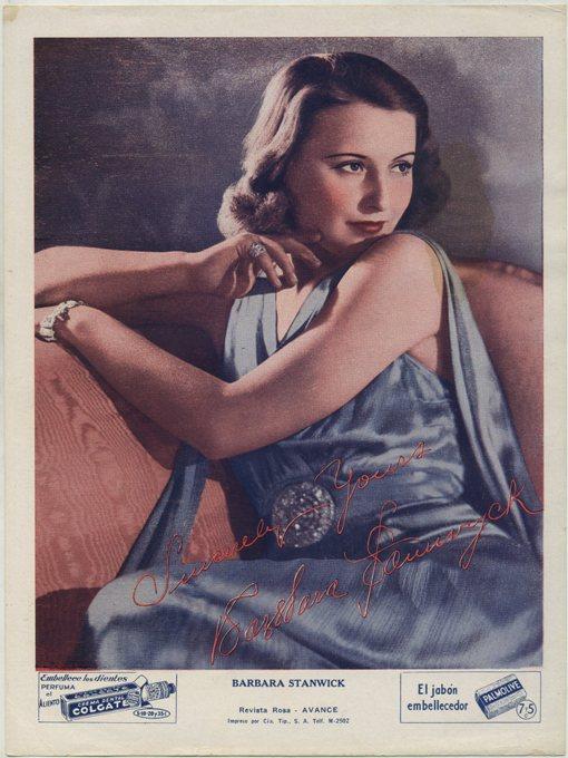 Barbara Stanwyck 1930s Colgate Palmolive Premium from Cuba