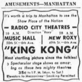 Brooklyn Daily Eagle ad for King Kong
