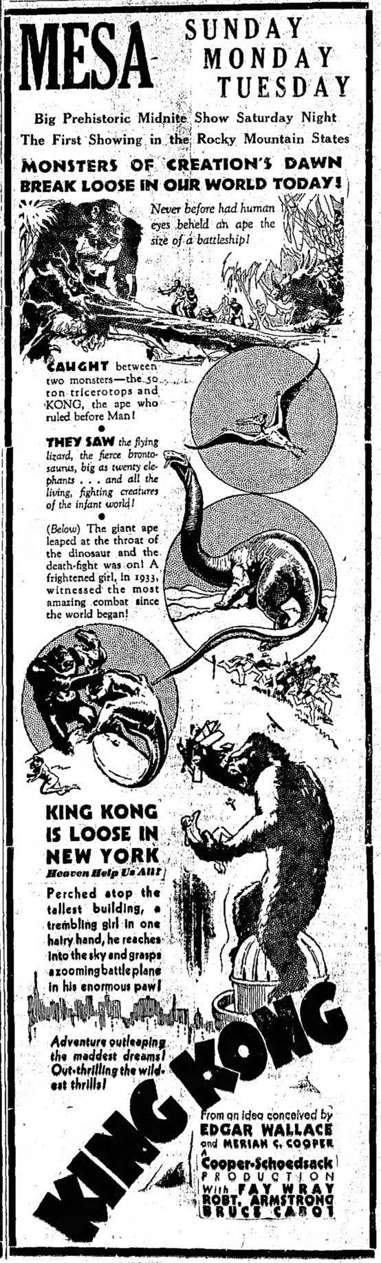 King Kong 1933 newspaper ad