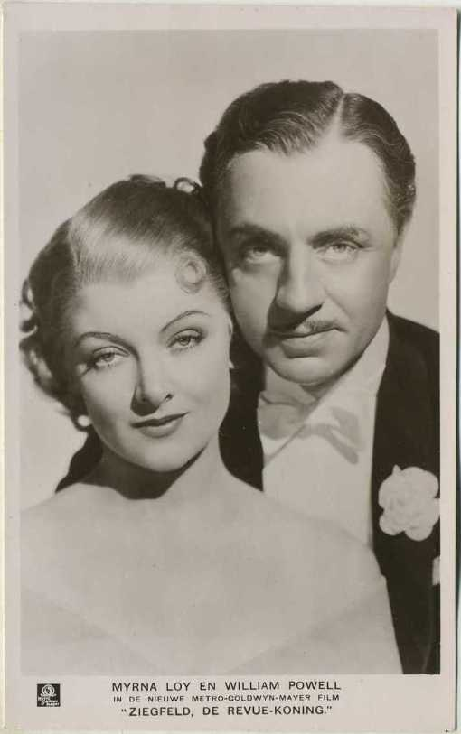 Myrna Loy and William Powell postcard