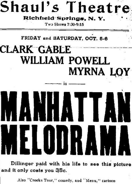 Manhattan Melodrama newspaper ad
