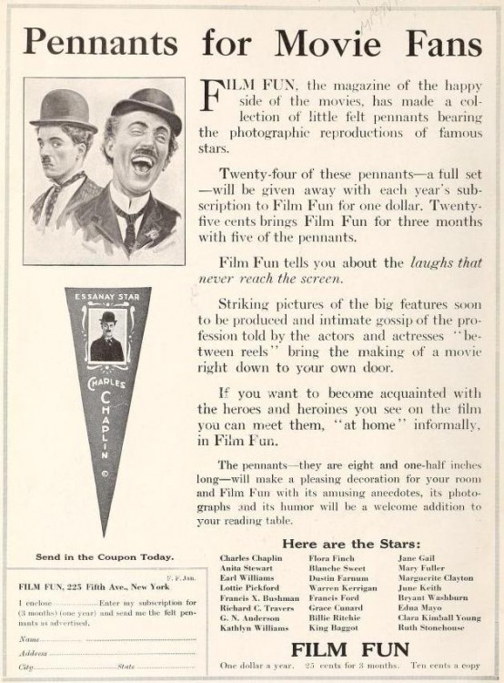 Movie Star Pennants in 1916 Film Fun Magazine
