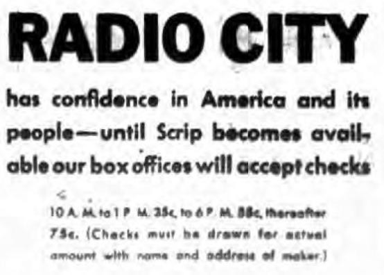Radio City has confidence ad