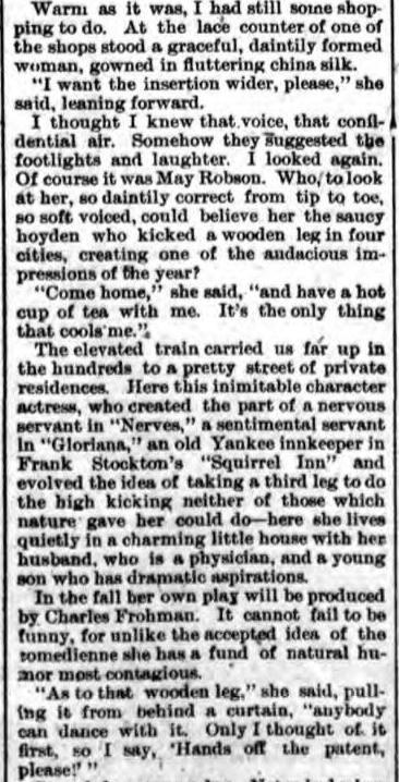 May Robson 1898 article