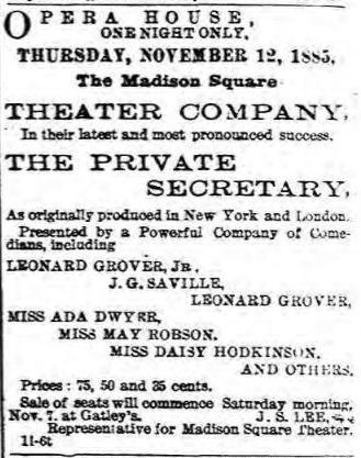 May Robson 1885 ad