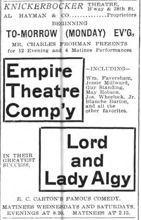 Lord and Lady Algy 1899 ad