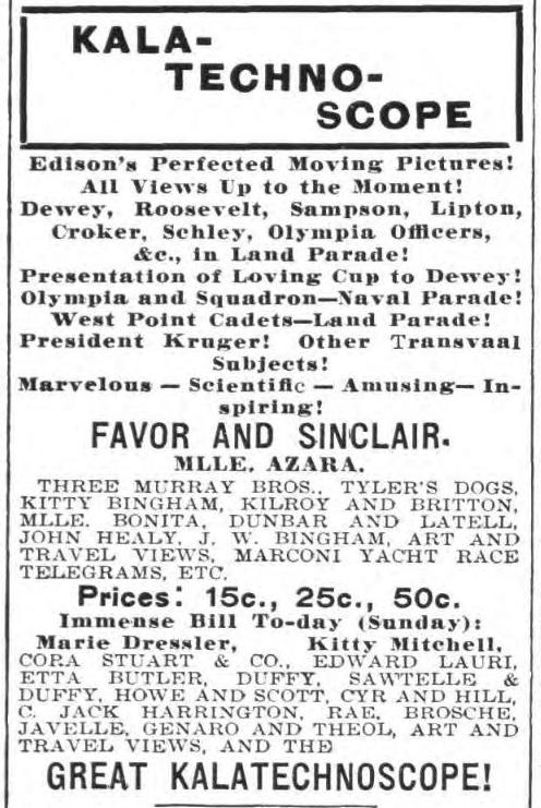 1899 ad for Kalatechnoscope show