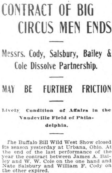 Circus headline 1899