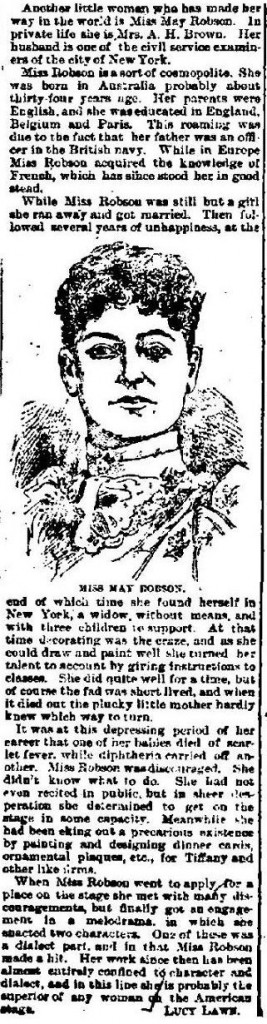 May Robson 1890s article
