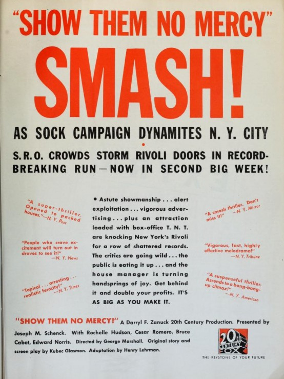 Show Them No Mercy 1935 Trade Advertisement