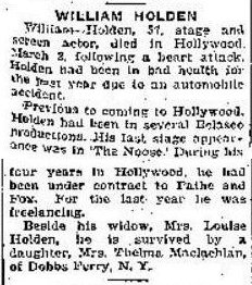 William Holden 1932 Obituary