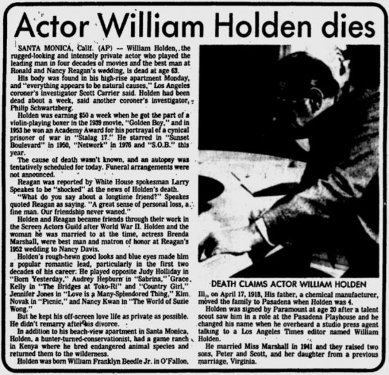 William Holden 1981 obituary