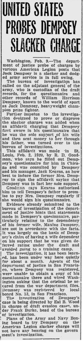 Source: The Independent, February 9, 1920, page 3.