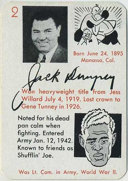 Jack Dempsey 1945 Autographs Game Card