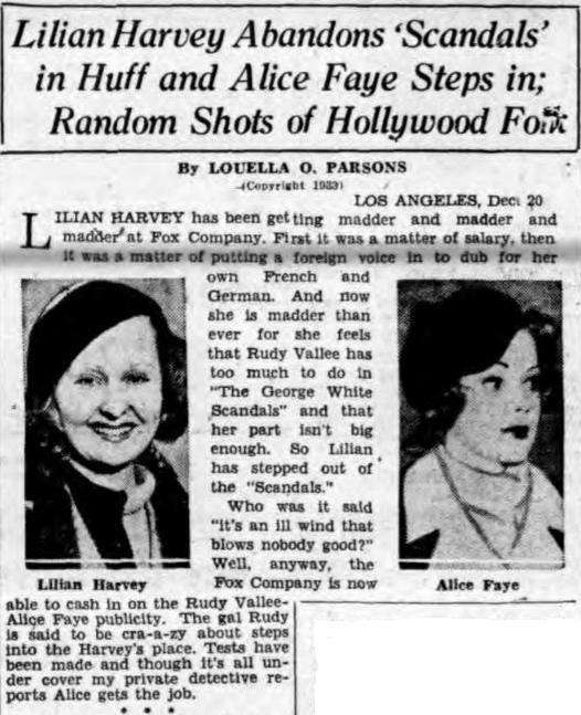 Alice Faye replaces Lilian Harvey
