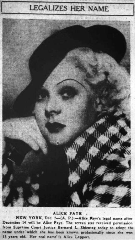 Alice Faye legally changes name 1935