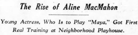 Aline MacMahon 1928 article headline