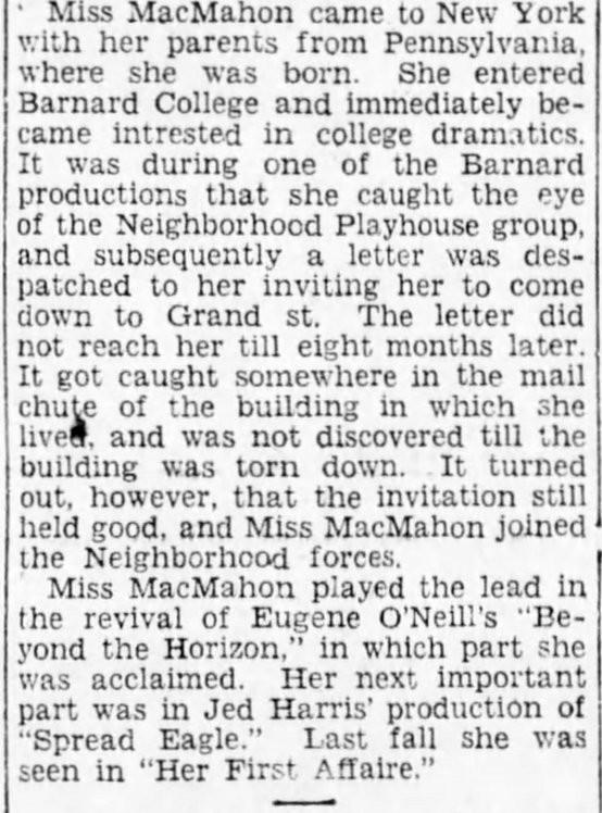 Aline MacMahon 1928 article excerpt