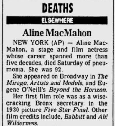 Aline MacMahon 1991 obituary