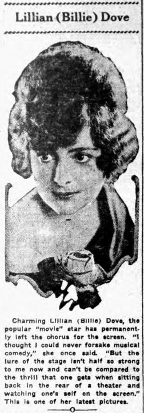 Billie Dove 1921 newspaper clip