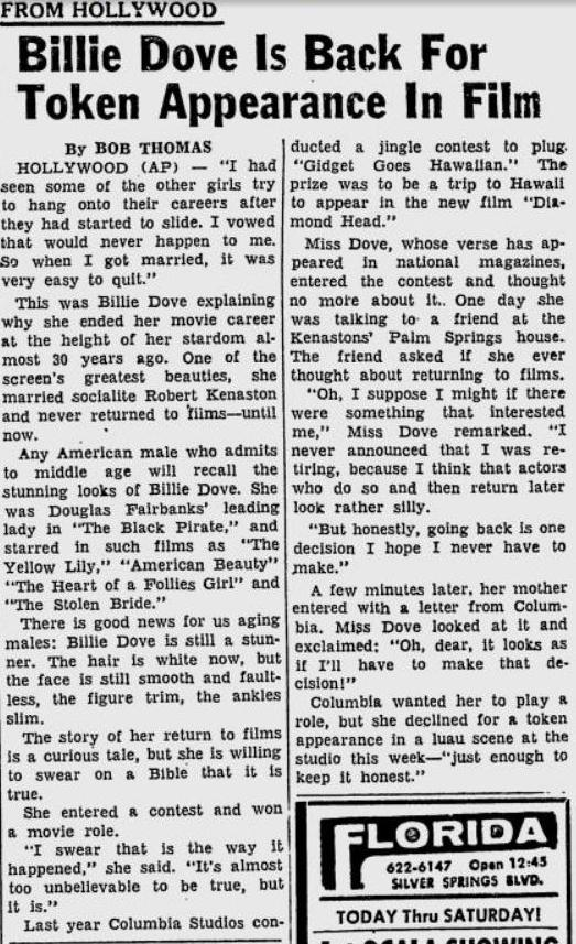 Billie Dove 1962 article