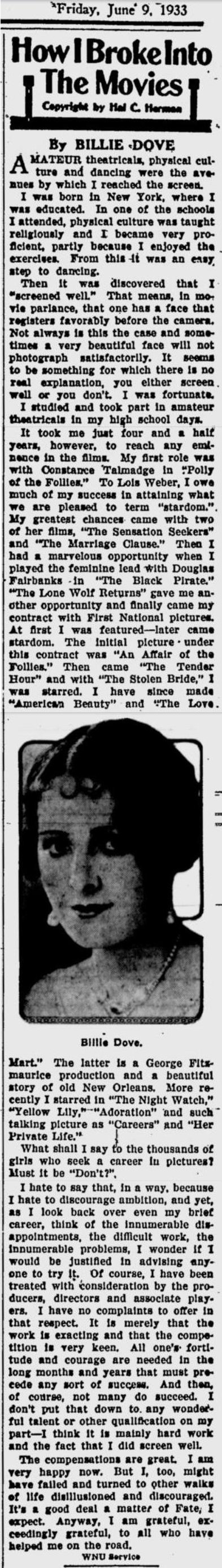 Billie Dove article