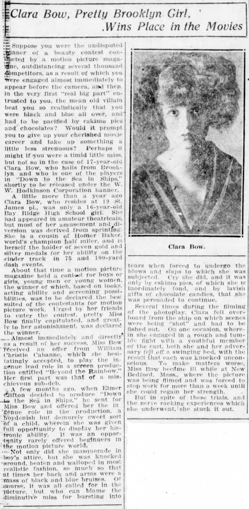 Clara Bow Brooklyn Daily Eagle 1923 article