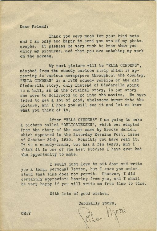 Colleen Moore fan letter