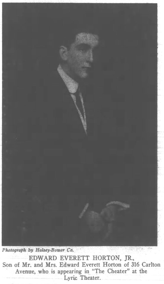 Edward Everett Horton 1910 clipping
