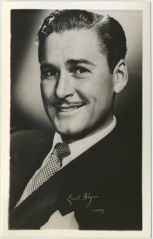 Errol Flynn 1940s EKC Postcard