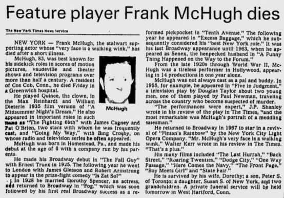 Frank McHugh obituary