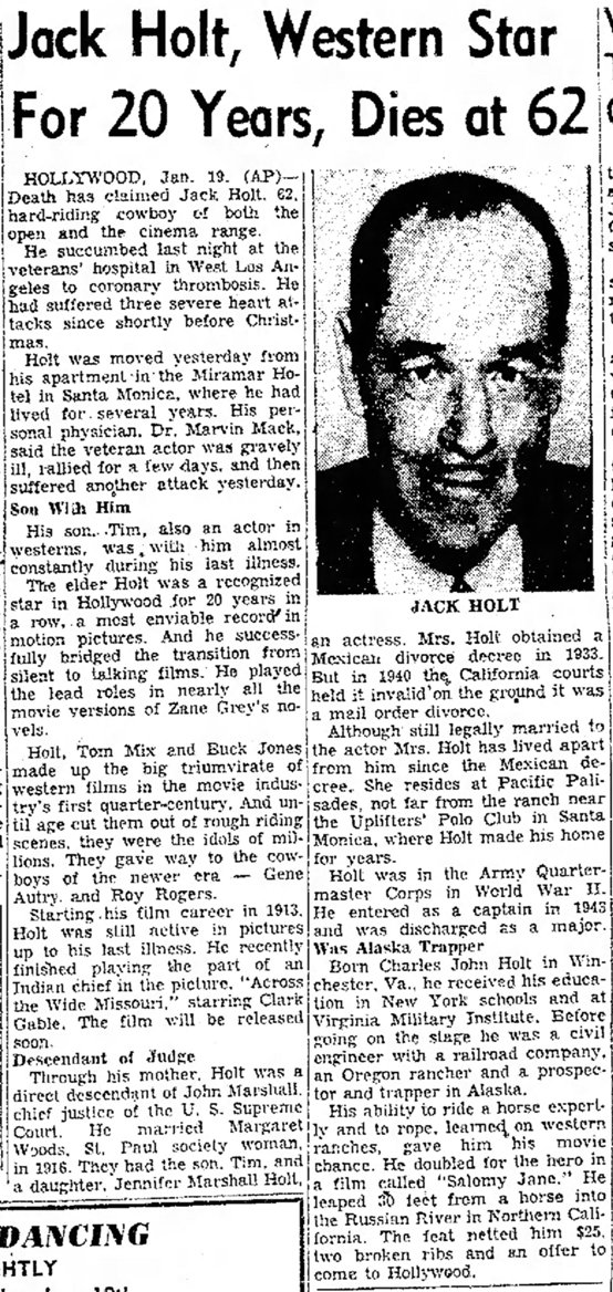 A.P. obituary published in the Corpus Christi Times, January 19, 1951, page 3-D.