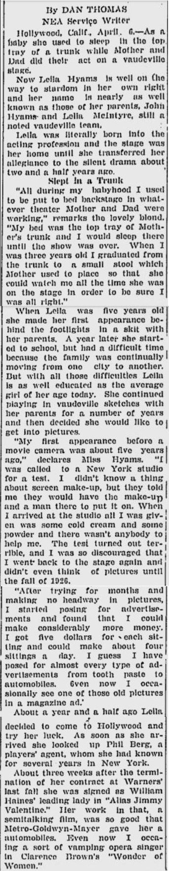 Leila Hyams 1929 Palm Beach Post article
