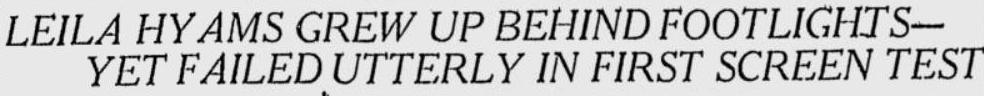 Leila Hyams 1929 article headline
