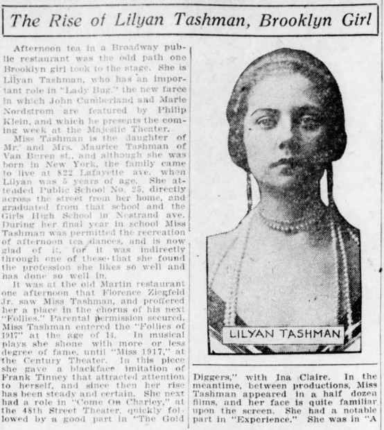 Lilyan Tashman 1922 feature article