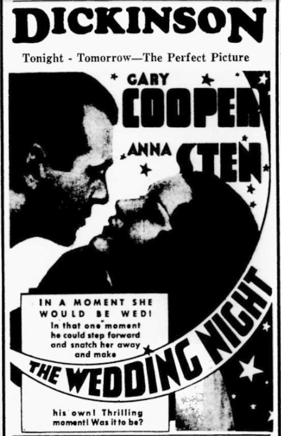 The Wedding Night 1935 newspaper ad