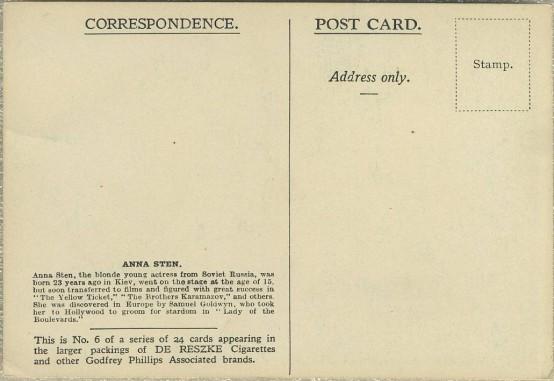 Anna Sten 1934 Godfrey Phillips Postcard reverse
