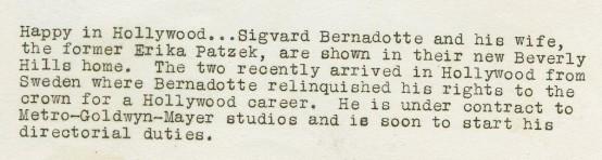 Prince Sigvard Bernadotte and Erica Patzek 1930s MGM Photo caption