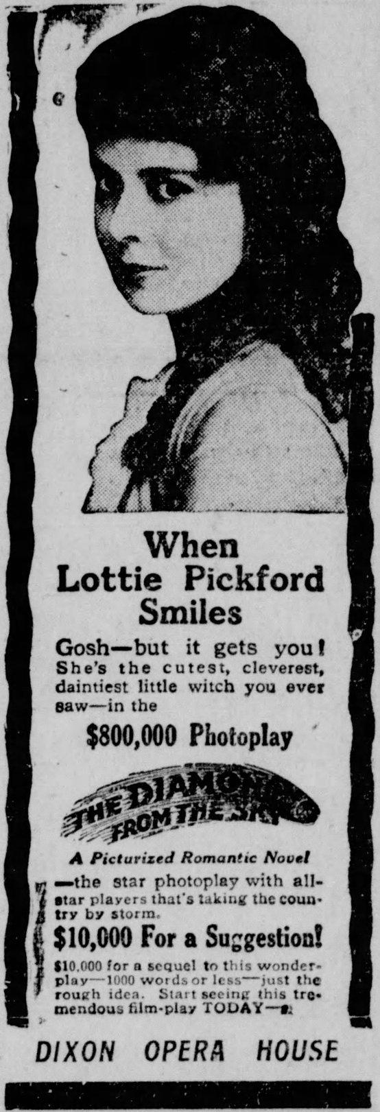 Source: Dixon Evening Telegraph of Dixon, IL, May 27, 1915, page 5.