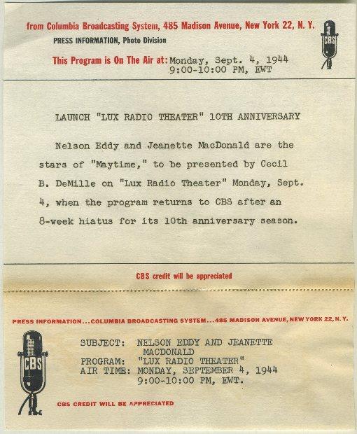 Jeanette MacDonald and Nelson Eddy 1930s CBS Press Photo caption