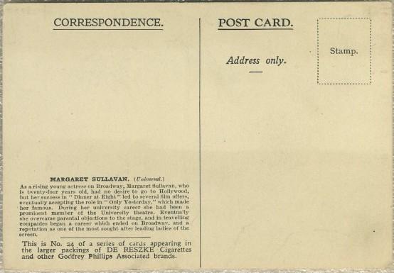 Margaret Sullavan 1930s Godfrey Phillips Postcard reverse