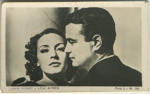 Joan Perry and Lew Ayres tobacco card