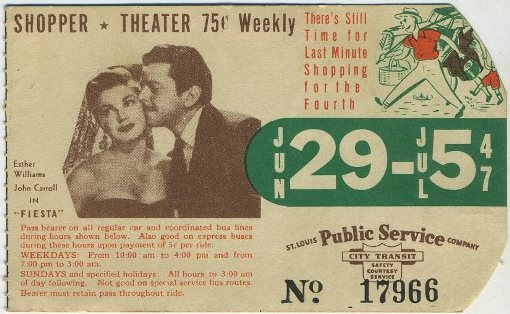 Esther Williams and John Carroll 1947 Bus Pass