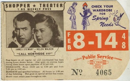 James Stewart and Helen Walker 1948 bus pass