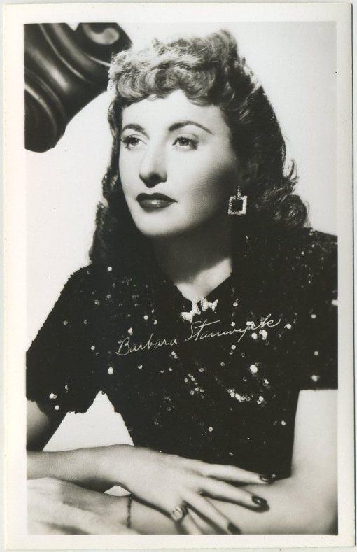Barbara Stanwyck 1940s EKC Postcard