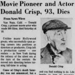 Clipping: Donald Crisp 1974 Obituary
